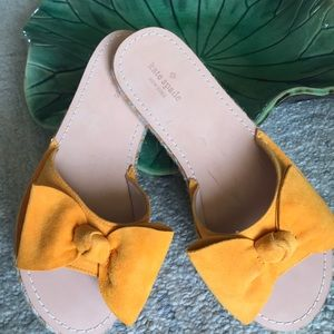 Kate Spade Slides with Yellow Bow, size 9.